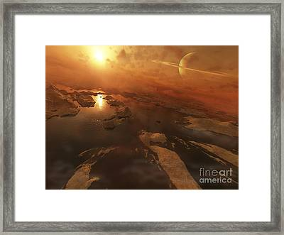 Titan Boasts Liquid Hydrocarbon Lakes Framed Print by Steven Hobbs