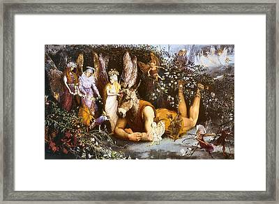 Titania And Bottom Framed Print by John Anster Fizgerald