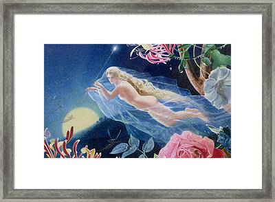 Titania Flying Framed Print by John Simmons