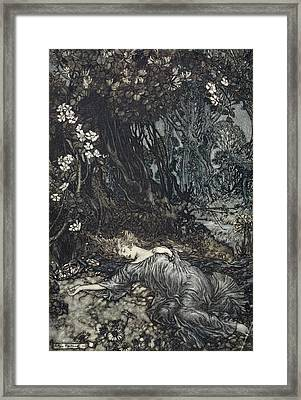 Titania Lying Asleep, Illustration Framed Print