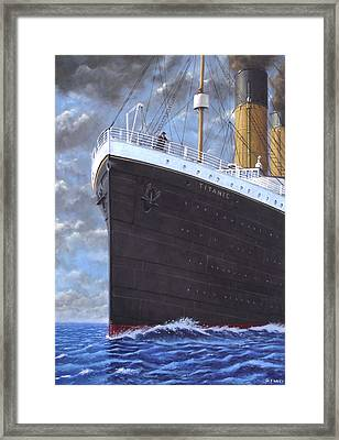 Titanic At Sea Full Speed Ahead Framed Print by Martin Davey
