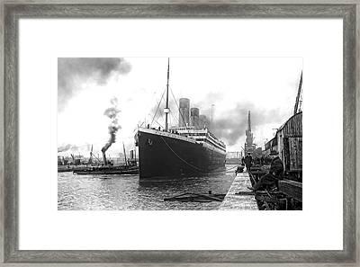 Titanic In Southampton Harbor Framed Print