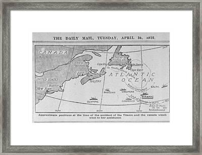 Titanic Location Map Framed Print