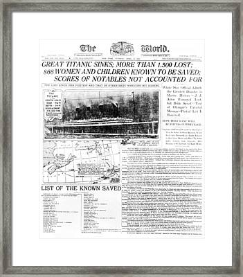 Titanic Sinking Headlines Framed Print by Underwood Archives