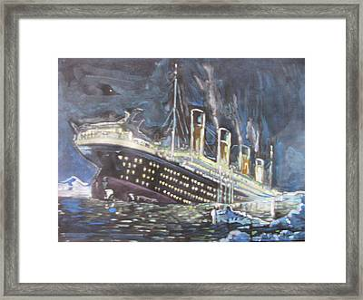 Framed Print featuring the painting Titanic Sinking by Vikram Singh