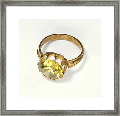 Titanite Stone Set In Antique Gold Ring Framed Print by Dorling Kindersley/uig