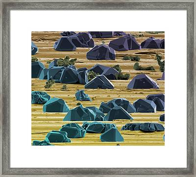 Titanium Micro-crystals Framed Print by Science Photo Library