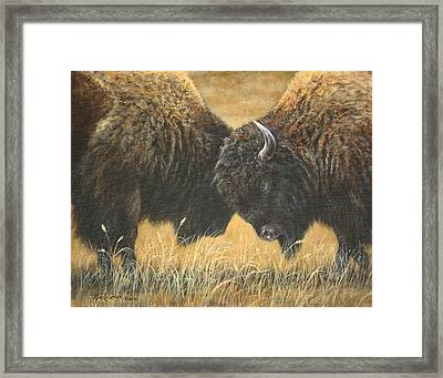 Titans Of The Plains Framed Print by Kim Lockman