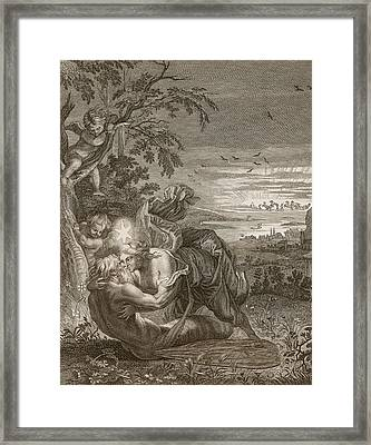 Tithonus, Auroras Husband, Turned Into A Grasshopper Framed Print by Bernard Picart