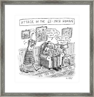Title: Attack Of The 65-inch Woman. A Woman Walks Framed Print