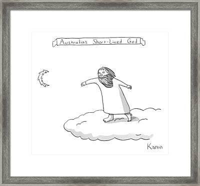 Title: Australia's Short-lived God. A God Throws Framed Print by Zachary Kanin