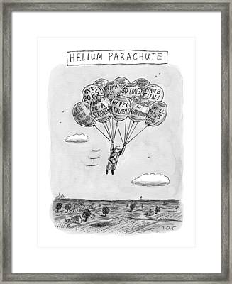 Title: Helium Parachute  A Sad Man Floats Framed Print