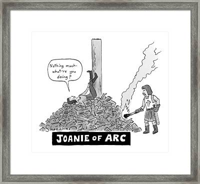 Title: Joanie Of Arc. A Teenage Joan Of Arc Rests Framed Print