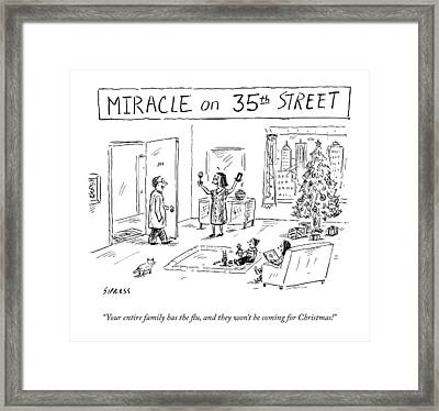 Title: Miracle On 35th Street. A Family Framed Print by David Sipress