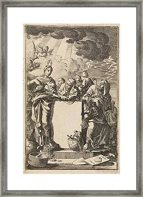 Title Page Of Adrian Spinniker De Werken En Vergelding Der Framed Print by Jan Luyken And Wed. Pieter Arentsz & Cornelis Van Der Sys (ii)