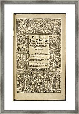 Title Page Of 'coverdale's Bible' Framed Print by British Library