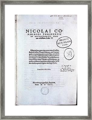 Title Page Of De Revolutionibus Framed Print
