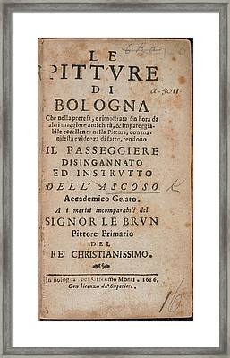 Title Page Of 'le Pitture Di Bologna' Framed Print