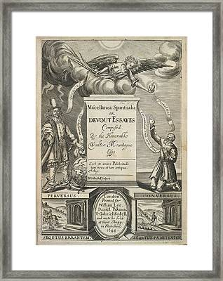 Title Page Of Miscellanea Spiritualia Framed Print