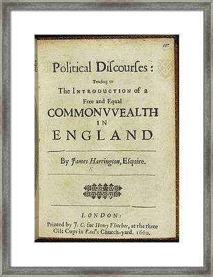 Title Page To 'political Discourses' Framed Print by British Library