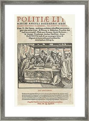 Title Print Six Scholars Sitting Around A Table And Text Framed Print by Hans Burgkmair (the Elder) And Heinrich Steiner