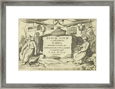 Title Print With Bird Catchers And Bird Sellers Framed Print by Anonymous