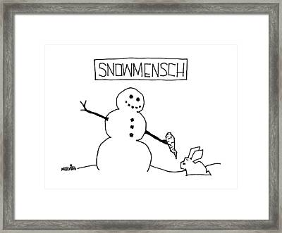 Title: Snowmensch Snowman Hands His Carrot Nose Framed Print by Ariel Molvig