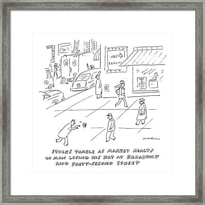 Title: Stocks Tumble As Market Reacts To Man Framed Print