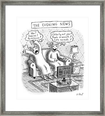 Title: The Evening News. A Person Wearing Framed Print