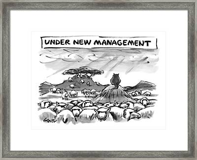 Title: Under New Management.  A Cat Overlooks Framed Print by Lee Lorenz