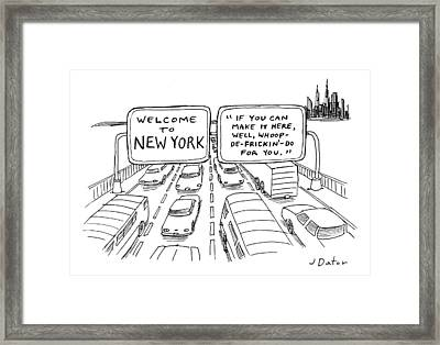 Title Welcome To New York. Two Highway Signs Framed Print