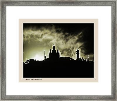 Framed Print featuring the photograph Tividabo. Dramatic Sunset by Pedro L Gili