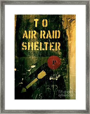To Air Raid Shelter Framed Print by James Aiken