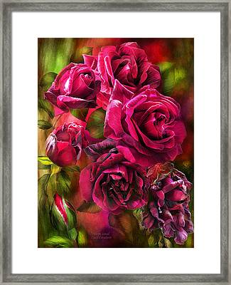 Framed Print featuring the mixed media To Be Loved - Red Rose by Carol Cavalaris
