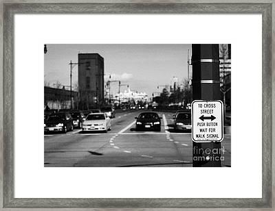 to cross street push button wait for walk signal sign 12th Avenu new york city Framed Print by Joe Fox