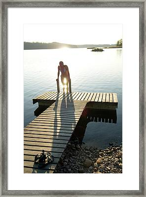 To Go Swimming In A Lake Of The Finnish Framed Print