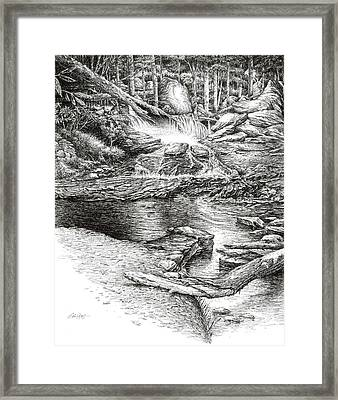 Framed Print featuring the drawing To Laurel Falls by Bob  George