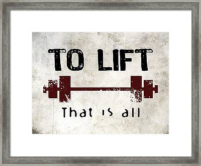 To Lift That Is All Framed Print by Flo Karp