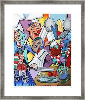 To Many Cooks In The Kitchen Framed Print by Anthony Falbo