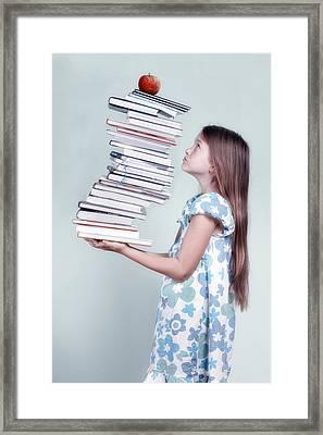 To Many Schoolbooks Framed Print