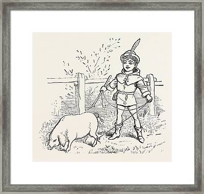 To Market, To Market, To Buy A Fat Pig, Home Again, Home Framed Print by English School