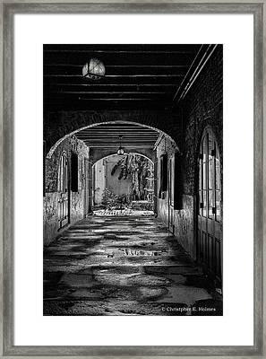 To The Courtyard - Bw Framed Print by Christopher Holmes