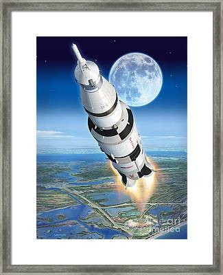To The Moon Apollo 11 Framed Print by Stu Shepherd