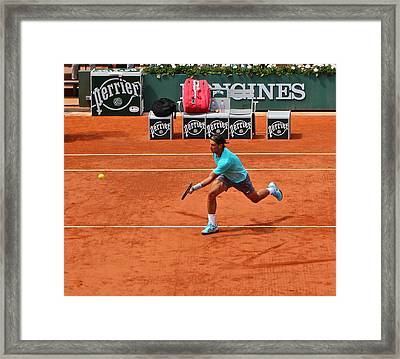 Rafael Nadal To The Net Framed Print by Alexi Hoeft