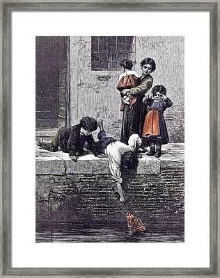 To The Rescue L. Passini 1878 Children Children Rescuing Framed Print