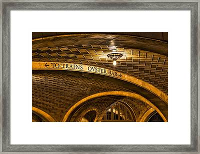 To Trains And Oyster Bar Framed Print by Susan Candelario