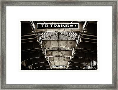 To Trains Framed Print by John Rizzuto