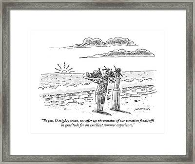 To You, O Mighty Ocean, We Offer Up The Remains Framed Print by Mick Stevens