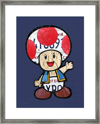 Toad From Mario Brothers Nintendo Original Vintage Recycled License Plate Art Portrait Framed Print