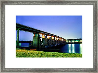Framed Print featuring the photograph Toad Suck Dam At Night by Jason Politte